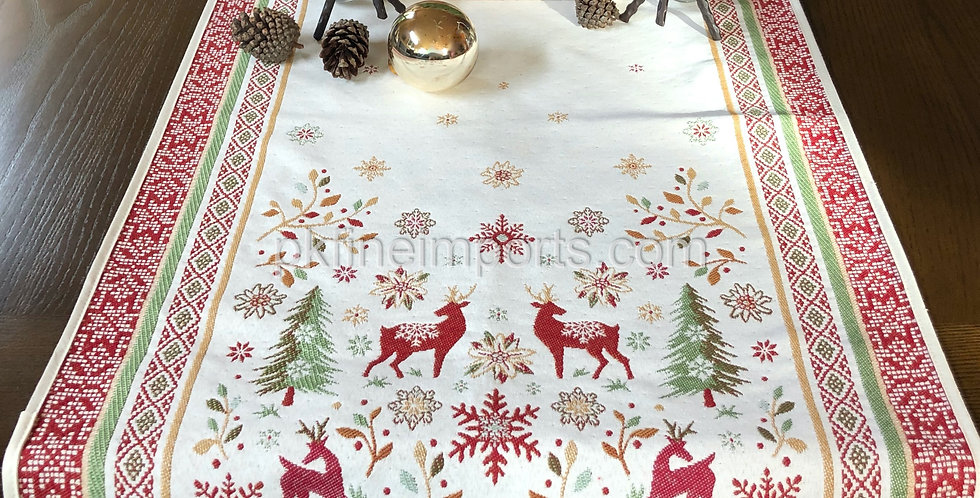 Red/Green Vallée Jacquard Tapestry Table Runner