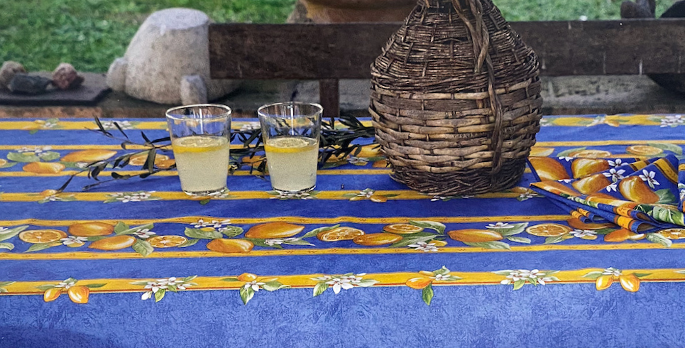 French Tablecloth Coated Striped Blue Citron