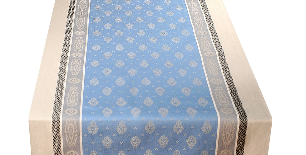 French Table Runner Jacquard Blue/Beige Vaucluse