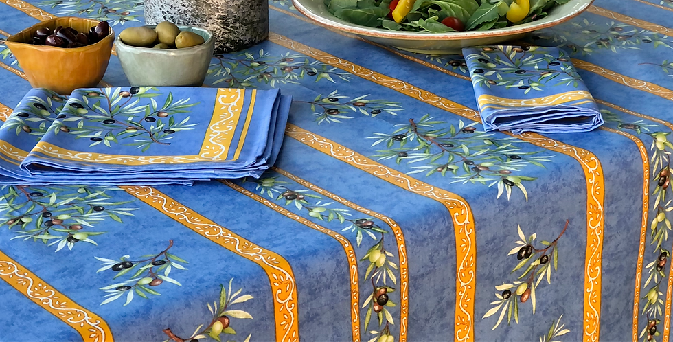 """French Tablecloth Coated 60"""" Round Striped Blue Clos des Oliviers"""