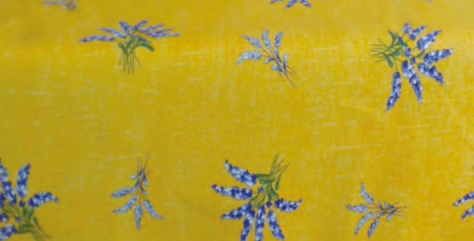 """French Tablecloth Coated 60"""" Round All Over Yellow Valensole"""