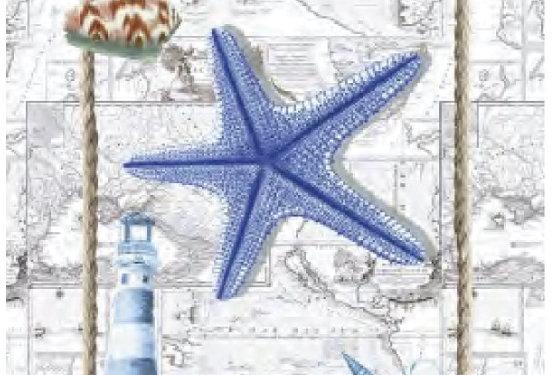 Blue Starfish Printed Cotton Kitchen Towel