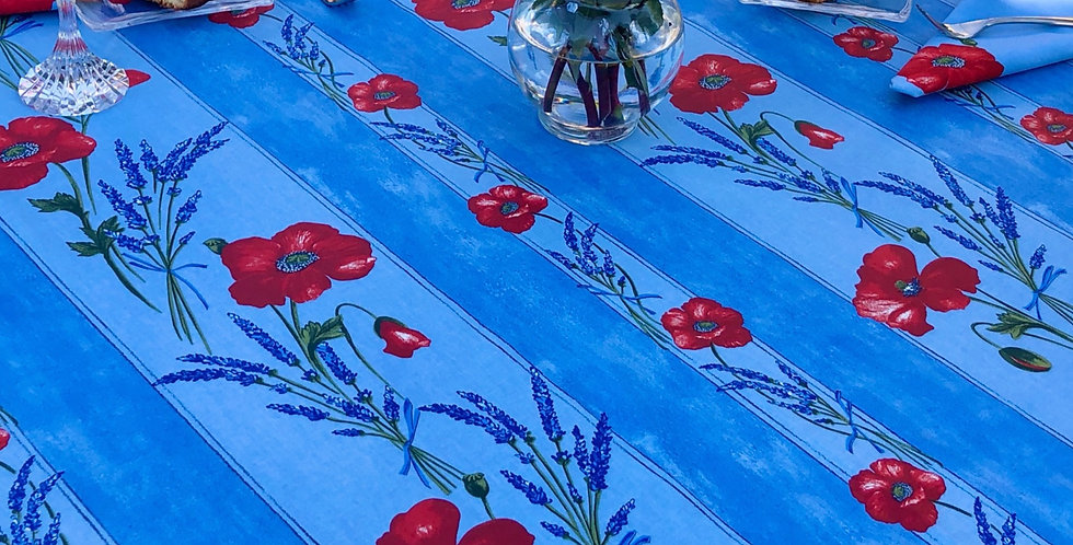 """French Tablecloth Coated 60"""" Round Striped Light Blue Poppy"""