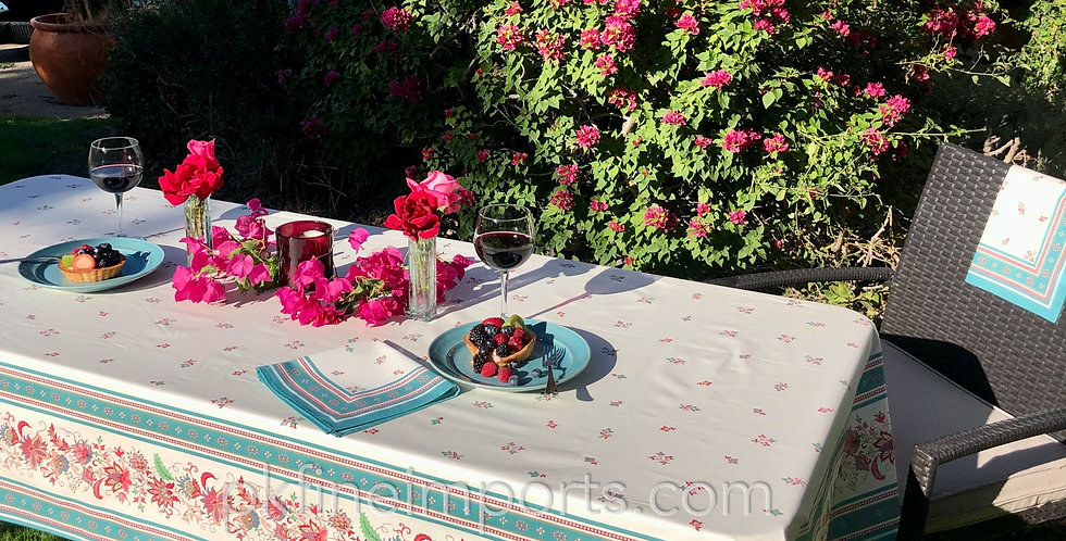 Teal Luberon Coated Cotton Tablecloth