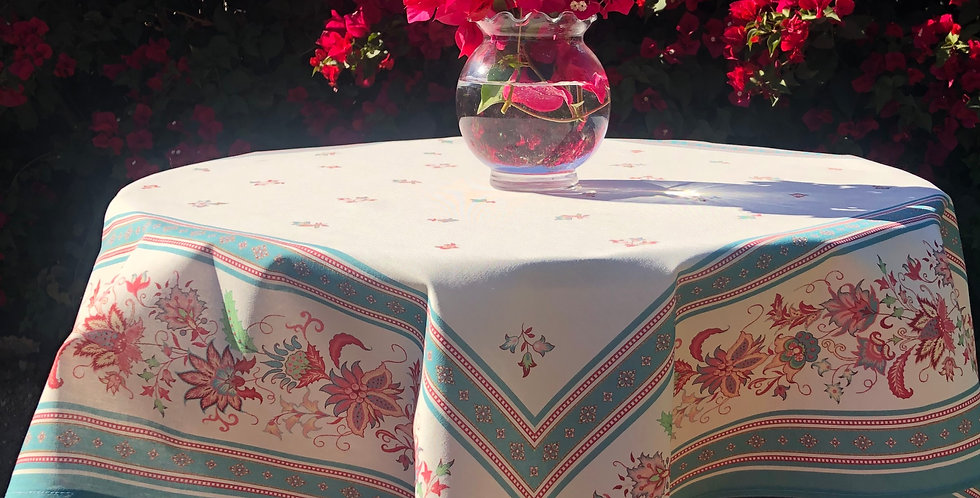 Teal Luberon Printed Cotton Table Topper