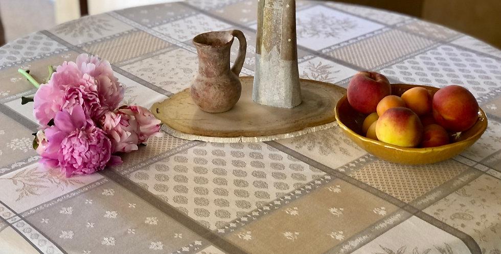 "French Tablecloth Jacquard 70"" Round Ecru/Beige Valbonne"