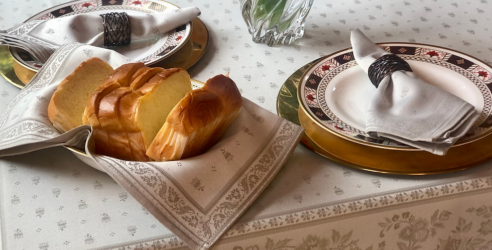 French Tablecloth Jacquard Beige Durance