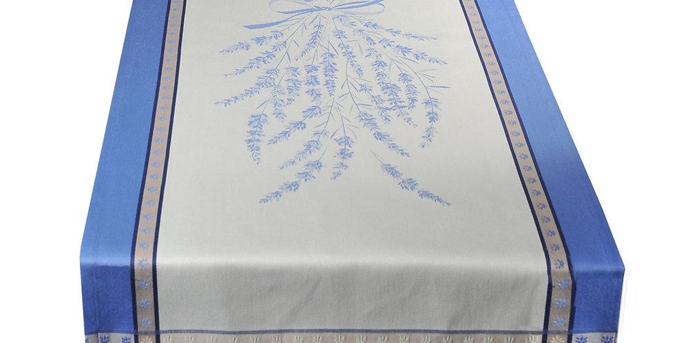 French Table Runner Jacquard Ecru/Blue Grignan