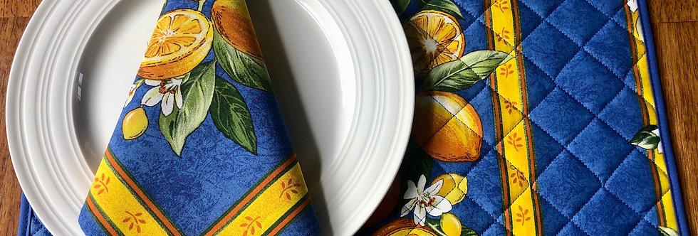 Blue Citron Coated Cotton Placemat