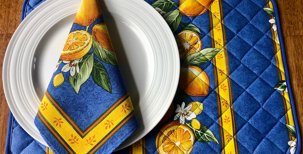 French Placemat Coated Blue Citron