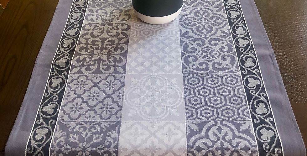 Grey Reillanne Jacquard Woven Table Runner