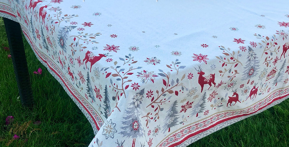 Red/Grey Vallée Jacquard Tapestry Tablecloth