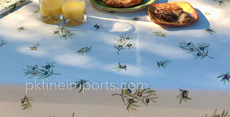 """French Tablecloth Coated 60"""" Round All Over Ecru Clos des Oliviers"""