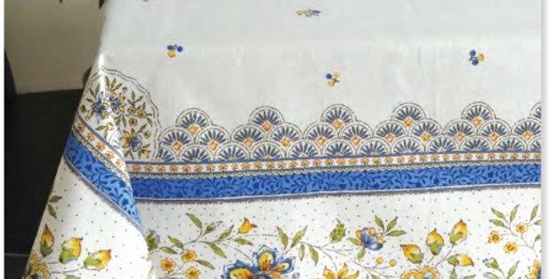 Ecru/Blue Beaucaire Coated Cotton Tablecloths