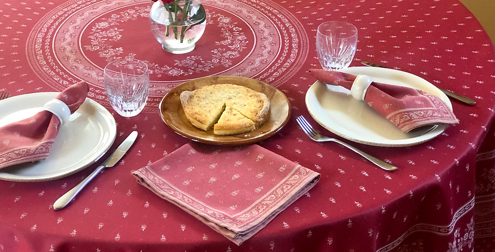 """French Tablecloth Jacquard 90"""" Round Red Durance"""