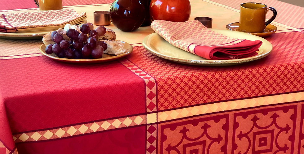 French Tablecloth Jacquard Yellow/Red Marius