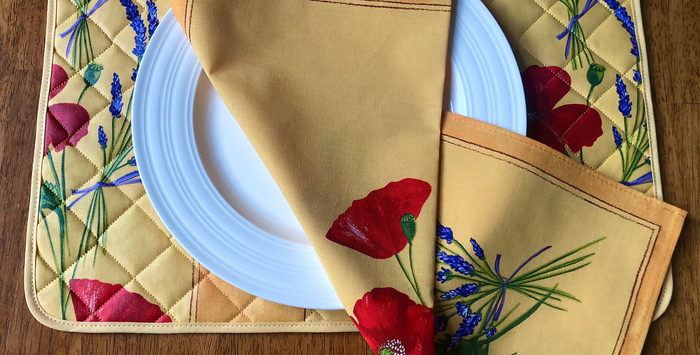Yellow Poppy & Lavender Coated Cotton Placemat