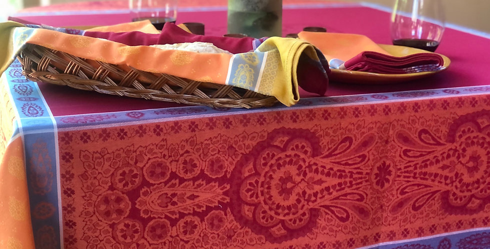 French Tablecloth Jacquard Orange/Red Vaucluse