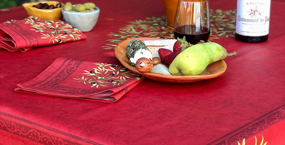 French Tablecloth Coated Red Clos des Oliviers