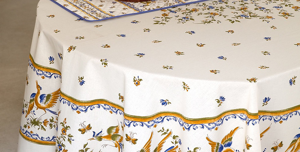 French Tablecloth Coated Blue Moustiers