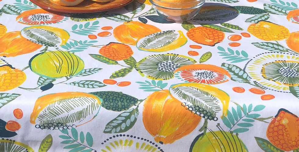 """French Tablecloth 60"""" Round Coated Citrus"""