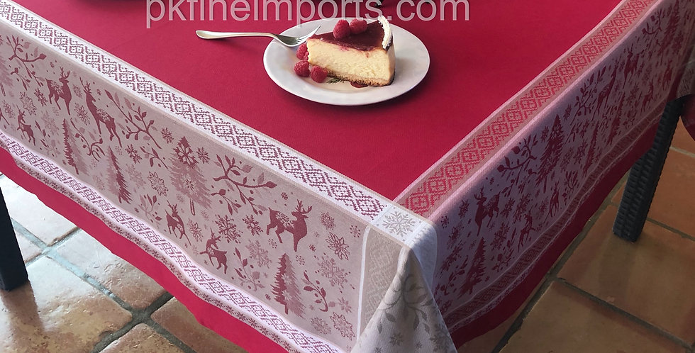 Red Vars Jacquard Woven Tablecloths