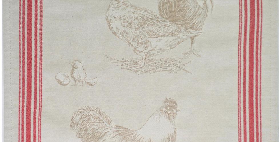 French Kitchen Towel Jacquard Plumage