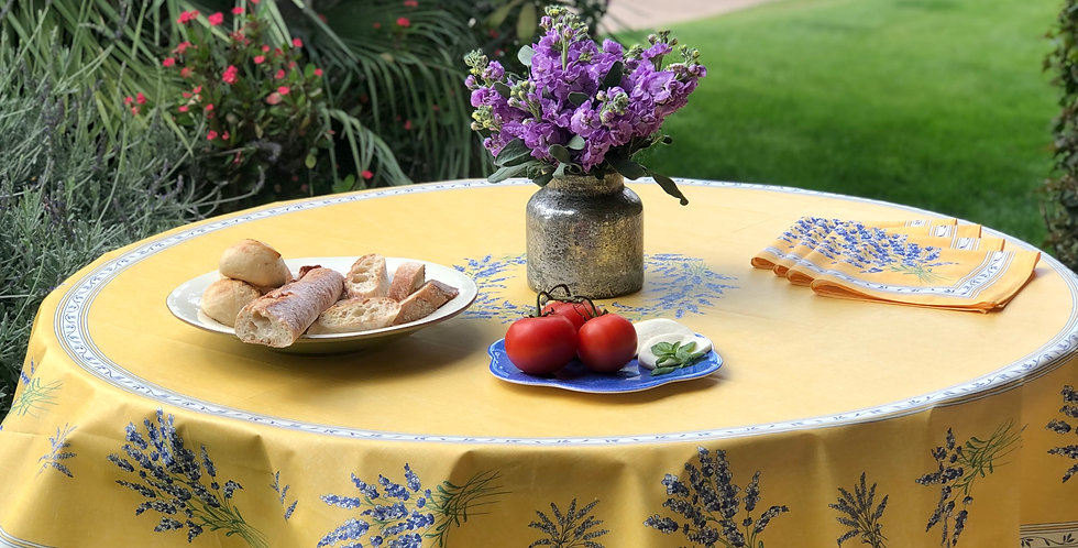 """French Tablecloth Coated 70"""" Round Yellow Valensole"""
