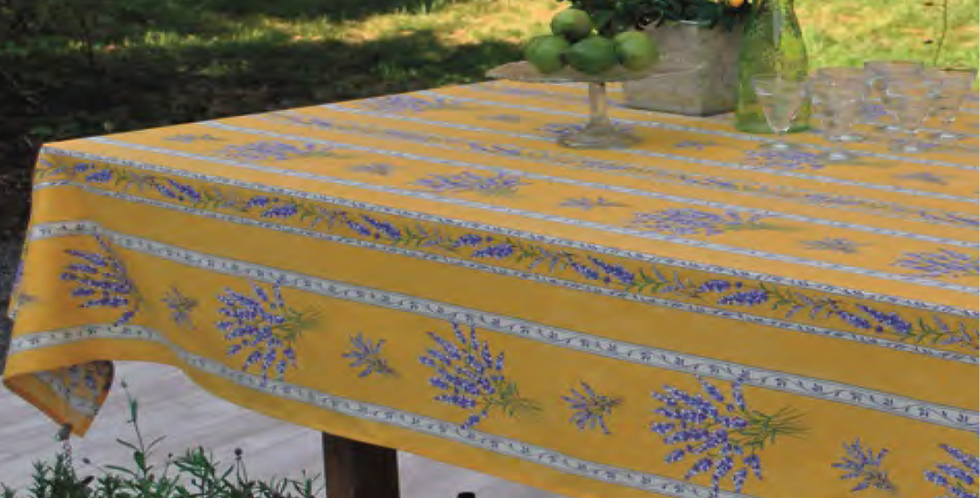 French Tablecloth Coated Striped Yellow Valensole