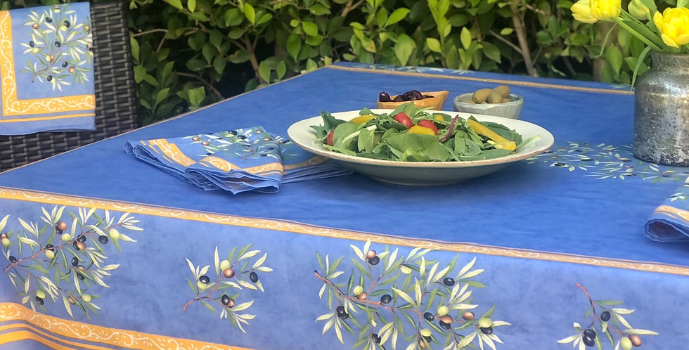 French Tablecloth Coated Blue Clos des Oliviers