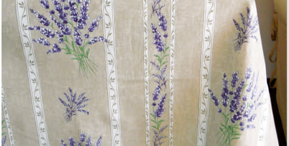 French Tablecloth Coated Striped Beige Valensole