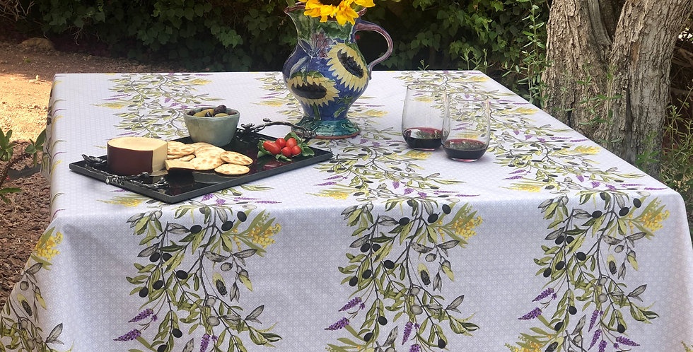 French Tablecloth Coated Ecru Mimolive