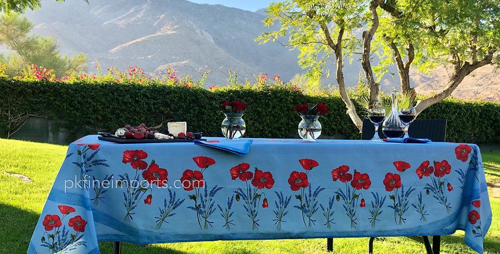 Light Blue Poppy & Lavender Center Design Coated Cotton Tablecloths