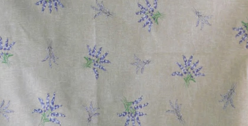 """French Tablecloth Coated 60"""" Round All Over Beige Valensole"""