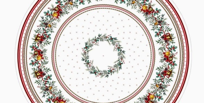 """Sylvestre 70"""" Round Coated Cotton Tablecloth"""