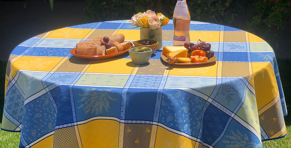 """French Tablecloth Jacquard 70"""" Round Yellow/Blue Valbonne"""