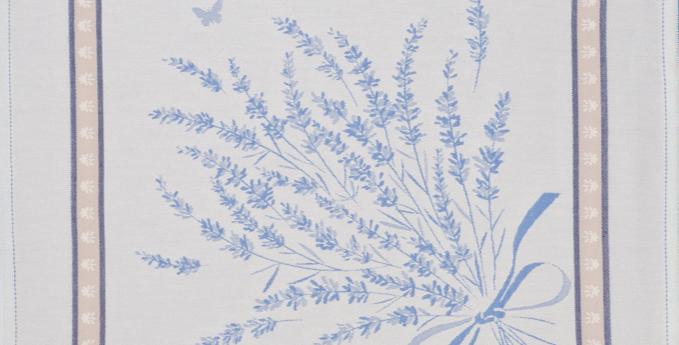 French Napkin Jacquard Ecru/Blue Grignan