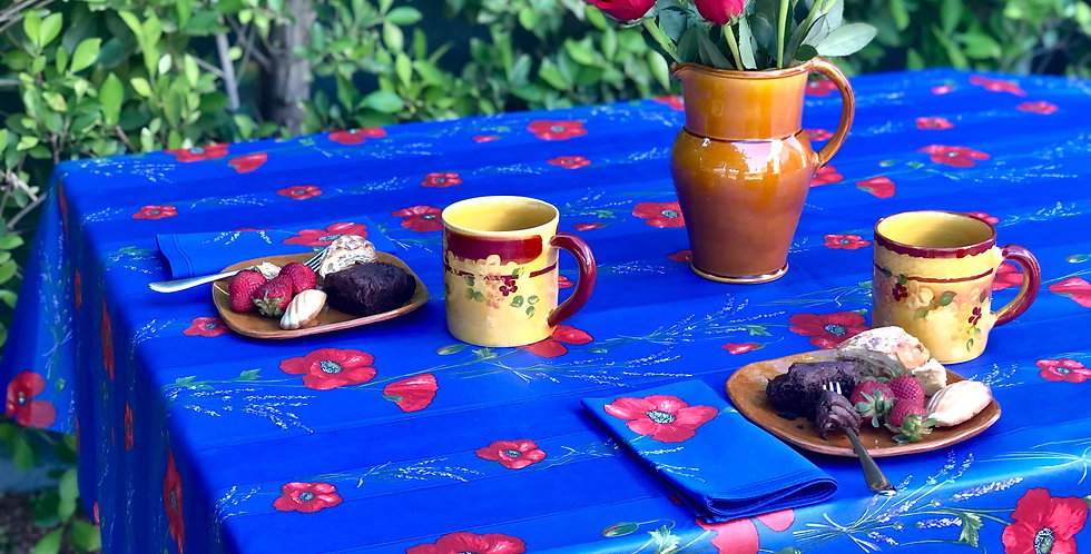 """French Tablecloth Coated Striped Blue Poppy 60"""" x 100"""" & 8 Napkins Set"""