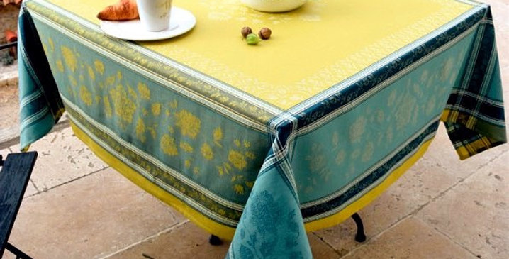 French Tablecloth Jacquard Lime Ramatuelle
