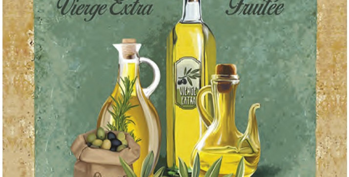 Provence Olive Oil Printed Cotton Kitchen Towel