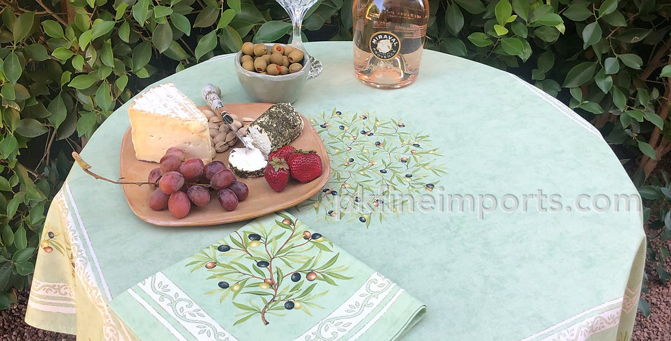 Green Clos Des Oliviers Printed Cotton Table Topper
