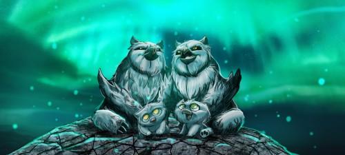 Snowy Owlbear family