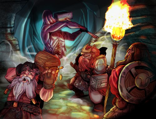 A tomb tapper attacks dwarves looting its hoard