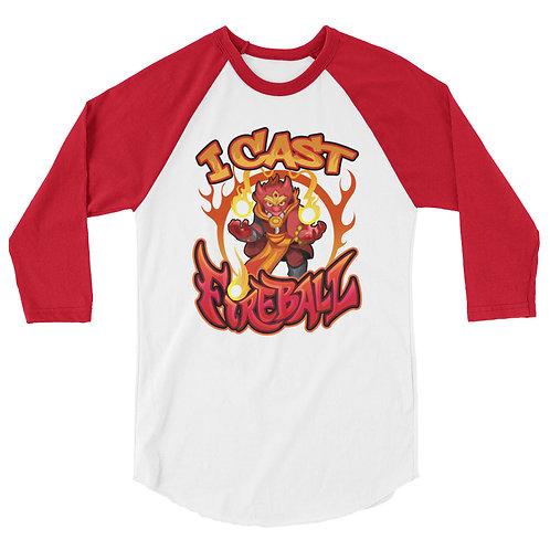 I Cast Fireball - Red Kobold 3/4 Raglan Shirt