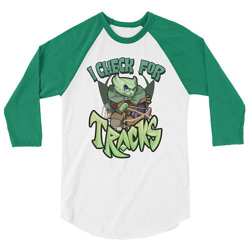 I Check For Tracks - Green Kobold 3/4 Raglan Shirt
