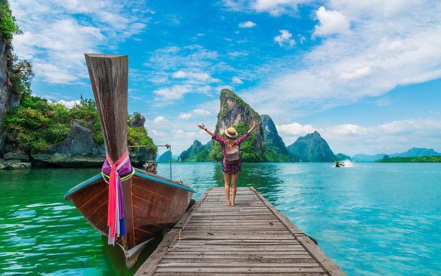 Traveler woman  joy fun beautiful nature