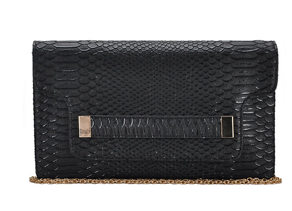 Melody Black Vegan Leather Clutch