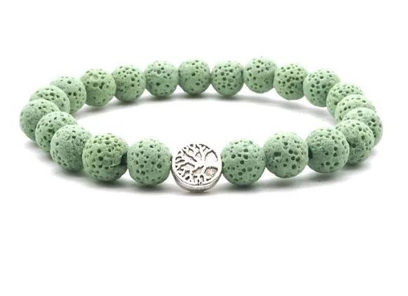 Light Green Tree of Life Lava Stone Essential Oil Bracelet