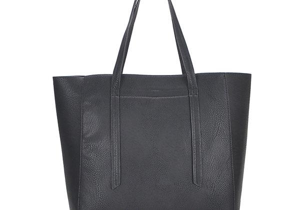Ashley Black Vegan Leather Hobo Handbag