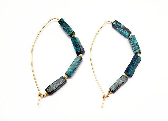 Slider Turquoise Hoop Earrings